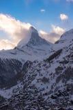 Aerial view on zermatt valley and matterhorn peak. At dusk with fresh snow in  switzerland Royalty Free Stock Photo