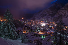 Aerial view on zermatt valley and matterhorn peak. At dusk with fresh snow in  switzerland Stock Images