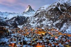 Aerial View on Zermatt Valley and Matterhorn Peak. In the Morning, Switzerland Stock Image