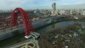 Aerial view of Zhivopisny bridge in Moscow stock footage