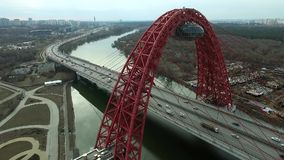 Aerial view of Zhivopisny bridge in Moscow stock video footage