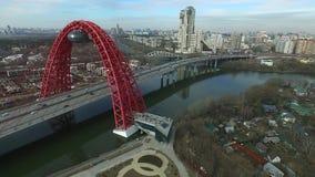 Aerial view of Zhivopisny bridge in Moscow stock video