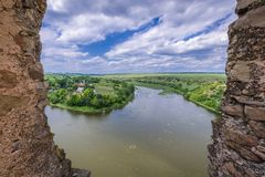 Zhvanchyk River in Ukraine. Aerial view of Zhvanchyk River, tributary of the Dniester from castle ruins in Zhvanets town, Ukraine Stock Photos
