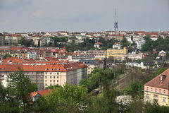 Aerial view at Zizkov TV Tower in Prague (Czech Republic, Europe) from the district Vysehrad. Stock Image