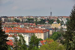 Aerial view at Zizkov TV Tower in Prague (Czech Republic, Europe) from the district Vysehrad. Stock Photo