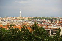 Aerial view at the Zizkov TV Tower in Prague (Czech Republic, Europe) from the district Vysehrad. Stock Photo