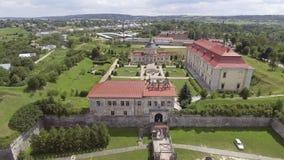 Aerial view of Zolochiv Castle in Lviv region, Ukraine stock footage