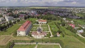 Aerial view of Zolochiv Castle in Lviv region, Ukraine stock video footage