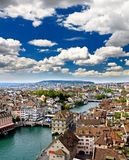 The aerial view of Zurich city Stock Photography