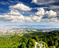 The aerial view of Zurich City Stock Photo