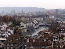 Aerial view of Zurich city center. View of the historical city center of Zurich in Switzerland. The Limmat river splits the city. Shot taken from the tower of stock photos