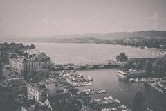 Aerial view of Zurich city center and lake of Zurich, Switzerland stock images