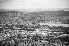 Aerial view of Zurich city and lake on Uetliberg Royalty Free Stock Photo