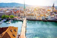 Aerial view on Zurich city in Switzerland Stock Photo