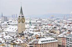 Aerial view of Zurich downtown Stock Photos