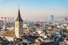 Aerial view of Zurich downtown with clock tower, Switzerland Stock Photo