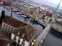 Aerial view of Zurich marina royalty free stock images