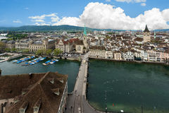 Aerial view of Zurich old town along Limmat river, Zurich, Switz Royalty Free Stock Photo