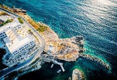 Aerial viewpoint of costal village on Paros island, Greece. Aerial panoramic view of scenic costal village by the beautiful seashore, Paros, Greece royalty free stock photography
