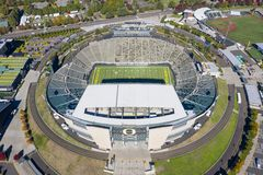 Aerial Views Of Autzen Stadium On The Campus Of The University O royalty free stock image