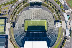 Aerial Views Of Autzen Stadium On The Campus Of The University O stock photography