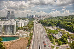 Aerial views from the cable car to Sentosa island, Singapore. Stock Photo