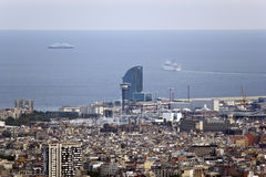 Aerial views of the city of Barcelona, Hotel W Stock Photo