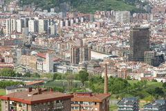 Aerial views of city center Bilbao, Bizkaia, Basque country, Spa Royalty Free Stock Images