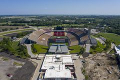Aerial Views Of Jack Trice Stadium On The Campus Of Iowa State University stock photography