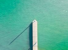 Aerial top down of little boat jetty royalty free stock photo