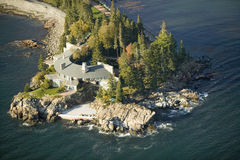Aerial views of luxury home in Acadia National Park, Maine in autumn Stock Photo