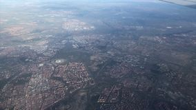 Aerial views of madrid from a plane