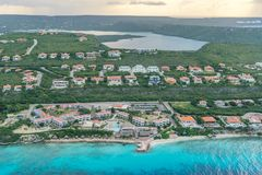 Aerial views of Coral Estate over the ocean and land on Curacao. Aerial views over the ocean and land on Curacao a Caribbean Island royalty free stock photo