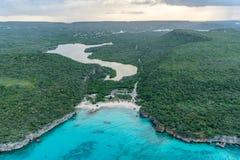 Aerial views Daaibooi beach over the ocean and land on Curacao. Aerial views over the ocean and land on Curacao a Caribbean Island stock image