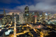 Aerial Views of San Francisco Financial District from Nob Hill, Dusk. Foggy Dusk over San Francisco Downtown from an Elevated Views Stock Images