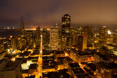 Aerial Views of San Francisco Financial District from Nob Hill, Night. San Francisco Downtown from an Elevated Views at Night royalty free stock image