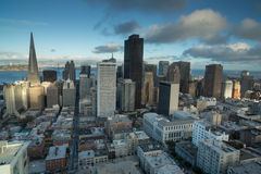 Aerial Views of San Francisco Financial District from Nob Hill, Sunset. San Francisco Downtown from an Elevated Views right before Sunset Stock Images