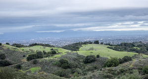 Aerial views of San Francisco South Bay at dusk from Fremont Older Open Space Preserve. Stock Images