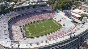 Aerial Views Of Sanford Stadium. October 03, 2018 - Athens, Georgia, USA: Aerial views of Sanford Stadium, which is the on-campus playing venue for football at stock photo