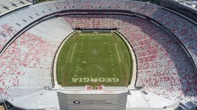 Aerial Views Of Sanford Stadium. October 03, 2018 - Athens, Georgia, USA: Aerial views of Sanford Stadium, which is the on-campus playing venue for football at royalty free stock photography