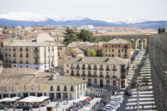 Aerial views of the Spanish city of Segovia. Ancient Roman and m Stock Images