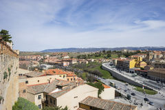 Aerial views of the Spanish city of Segovia. Ancient Roman and m Stock Photo
