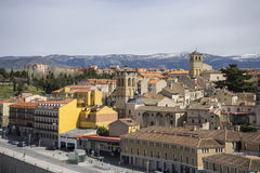 Aerial views of the Spanish city of Segovia. Ancient Roman and m Royalty Free Stock Photography
