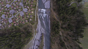 Aerial Views of a Spring Snow melt River Stock Image