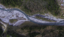 Aerial Views of a Spring Snow melt River Stock Images