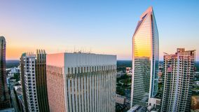 Aerial views at sunrise over charlotte north carolina Stock Photography