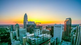 Aerial views at sunrise over charlotte north carolina Royalty Free Stock Photography