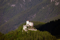 Aerial views of Tarasp castle, Switzerland. Royalty Free Stock Image
