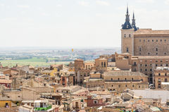 Aerial Views to Historical toledo town, spain stock photography