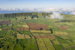 Aerial views on the typical abstract countryside of the east of Terceira Island, one of the islands of the Açores Azores